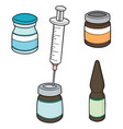 set injection medicine vector image