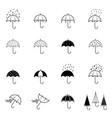 set red umbrellas vector image