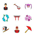 shanghai icons set cartoon style vector image vector image
