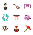 shanghai icons set cartoon style vector image vector image