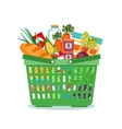 Shopping basket with food vector image