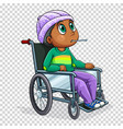 sick boy on wheelchair vector image vector image