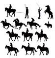 silhouettes of racehorses in training vector image vector image