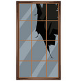 square window with broken glass vector image vector image