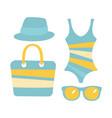 swimsuit glasses bag sandal women beach vector image vector image