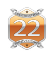 Twenty two years anniversary celebration silver vector image vector image