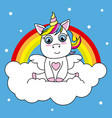 unicorn sitting on a cloud vector image