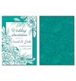 Wedding invitation green and white hand drawn vector image