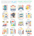 infographics mini concept game industry icons for vector image