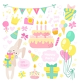 Birthday celebration attributes icons vector image