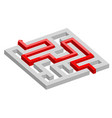 3d maze with red path vector image