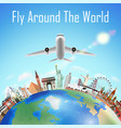 airplane with world travel landmark over world vector image vector image
