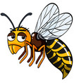 bee with sad face on white background vector image vector image