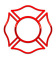 blank fire rescue logo base red gloss chrome trim vector image vector image