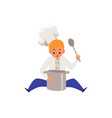 boy cook in chef cat and uniform cooking food in a vector image vector image