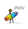 Boy with surfboard sketch for your design