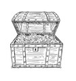 cartoon drawing old open pirate treasure chest vector image vector image