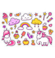 cool stickers set of cartoon characters clouds vector image