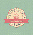 Cupcakes retro style label on polka dots pattern vector image