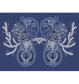 ethnic folk art of two peacock bird with flowering vector image vector image