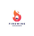 fire flame wine logo icon vector image vector image