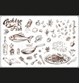fish cooking hand drawn vintage icons vector image