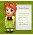 Girl doll redhead with card for your text vector image vector image