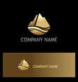 gold ice mountain nature logo vector image vector image