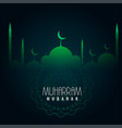 green muharram mubarak islamic background vector image