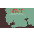 halloween with grave background card vector image vector image