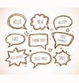 hand-drawn speech and thought bubbles in vintage vector image vector image