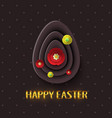 happy easter greeting card with a gold lettering vector image vector image