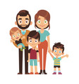 happy parents with children mom dad and vector image