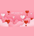 happy valentines day card with paper sky and 3d vector image