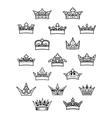 Heraldic king and queen crowns set vector image vector image