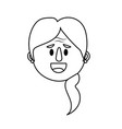 line old woman face with hairstyle vector image vector image
