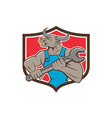 Mechanic Minotaur Bull Spanner Shield Cartoon vector image vector image
