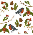 merry christmas bullfinch bird and mistletoe vector image vector image