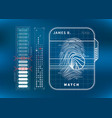 modern fingerprint scan with charts futuristic vector image vector image