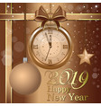 new year 2019 christmas card with golden clock vector image