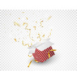 open red box with gold confetti explosion vector image