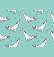 origami pattern background with dinosaurs vector image