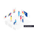 people in art gallery isometric concept vector image vector image