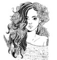 portrait young beautiful woman with flowers vector image