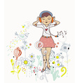 Poster of girl listening to the music with flowers vector image vector image