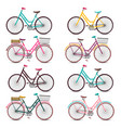 Retro bicycles set colorful bicycle collection