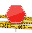 road stop sign with yellow police strip vector image