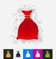 sack paper sticker with hand drawn elements vector image