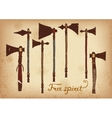Set of 7 colored hand drawing indian tomahawk vector image