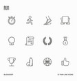 set of running competition thin line icons vector image vector image